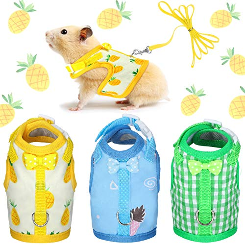 3 Pieces Guinea Pig Harness with Leash Small Pet Harness Fruit Plaid Pattern Adjustable Padded Walking Vest for Pet Hamster Ferret and Squirrel Small Animals (Pineapple, Blue, Green Plaid, Small)