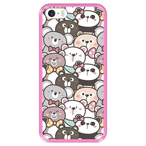 Hapdey Custodia per [ iPhone 5 5S SE ] Disegni [ Modello con orsacchiotti ] Cover Guscio in Silicone Flessibile Rosa TPU