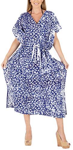 LA LEELA Mujeres Caftán Algodón túnica Batik Kimono Libre tamaño Largo Maxi Vestido de Fiesta para Loungewear Vacaciones Ropa de Dormir Playa Todos los días Cubrir Vestidos Azul_X764
