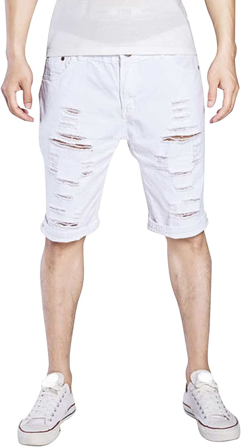 Men's Fashion Ripped Short Jeans Distressed Frayed Slim Fit Denim Shorts Straight Washed Breathable Jean Short-Pant
