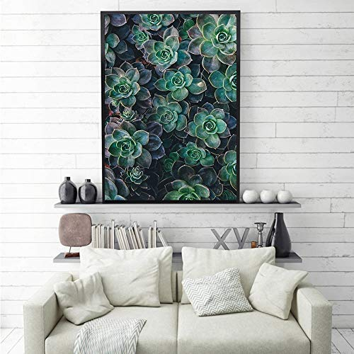Plantas suculentas Vida Carteles e Impresiones en Lienzo Flores Imagen de Arte de Pared para Sala de Estar decoración del hogar sin Marco 50x75cm