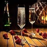 KADAX Sektgläser, 6er Set, 200ml, Sektflöten für zu Hause, Party, Hochzeit, Moderne Sektkelche, Bequeme Champagnergläser mit hohe und Enge Stiel, transparent - 5