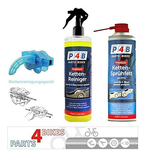 P4B Kettenreinigungsset Kettenfett + Kettenreiniger Sprühflasche + Kettenreinigungsgerät Fahrradkette Fahrrad E-Bike Reiniger Reinigungsgerät PTFE