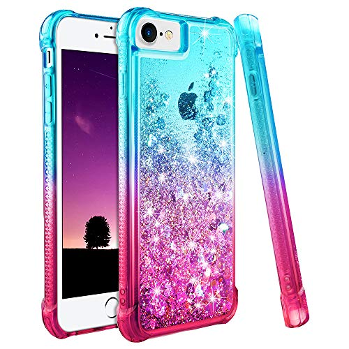 Ruky iPhone 6 6S 7 8 Case, iPhone 6 Case for Girls, Gradient Quicksand Series Glitter Bling Flowing Liquid Floating TPU Bumper Cushion Protective Cute Case for iPhone 6 6s 7 8 4.7 inches (Teal Pink)