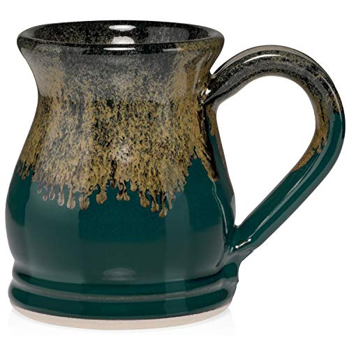 Uncommon Clay 16oz Potbelly Coffee Mug Handmade in the USA (Peacock Green/Gold)