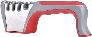 Ruosaren - Afilador de cuchillos de 4 etapas multifuncional, de acero de tungsteno, de cerámica, para cuchillos y tijeras, color negro rosso