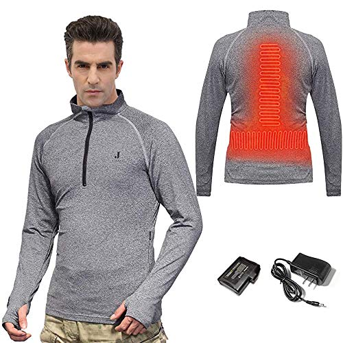 J JINPEI Men's Heated Sweatshirt Winter Ski Underwear Plain Heated Pullover with 7.4V 3000mAh Battery Heated Clothes Underwear with 3 Temperature Control Settings