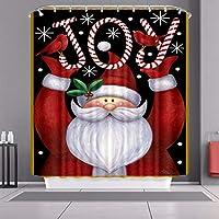 120 * 180センチメートルクリスマスシャワーカーテン、ポリエステル生地の防水カビ簡単に掃除させた耐久性のある風呂カーテン、クリスマスの飾りサンタバスタブのカーテン Santa3-120cm
