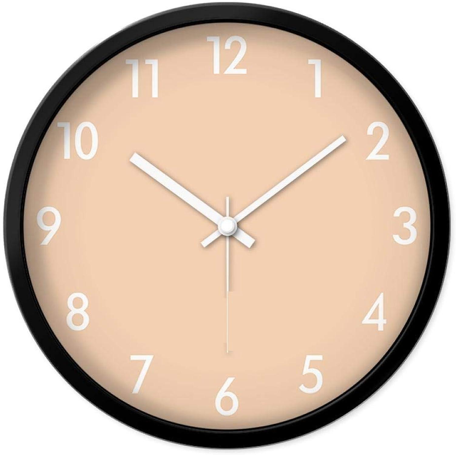 envio rapido a ti Zhtt Reloj de Parojo Simple Reloj Creativo Adecuado Adecuado Adecuado para Sala de Estar. Comedor de Cocina. Reloj de Parojo Mudo, Color Naranja Claro_14 Pulgadas (35 cm). Marco blancoo.  mejor servicio