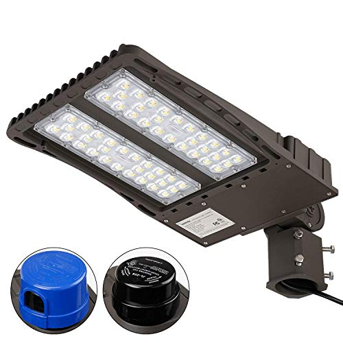 LEONLITE Ultra Bright LED Parking Lot Light with Photocell, 150W (450W Equiv.) Slipfitter Mount Area Lighting Fixture, Dusk-to-Dawn, ETL Listed, for Docks, Driveways, Backyards, 5-Year Warranty