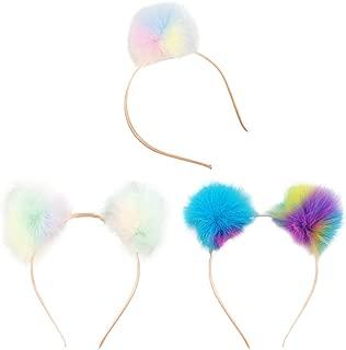 CHUANGLI Cute Ear Headband Rainbow Fluffy Ball Hair Loop Costume Pompom Hairband Accessories