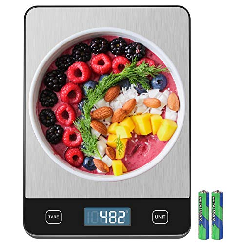 Amiloe 33lb Kitchen Scale with 6 Units Food Scale Digital Weight Grams and Oz 1g01oz Precise Graduation for Cooking Baking Stainless Steel and Tempered Glass 2 AAA Batteries Include