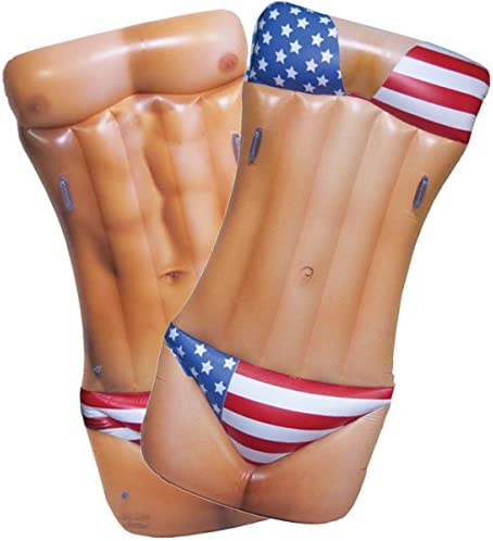 Jet Creations Inflatable Hunk Girl Dual Side Float Patriotic USA floatie ridable Blow up Summer product image