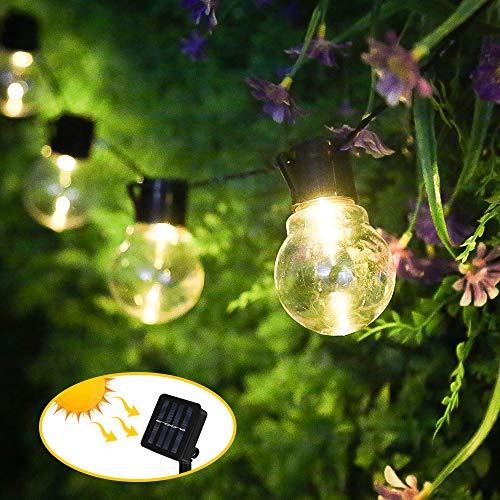 Nasharia Solar Lichterkette Außen, Weihnachten Glühbirnen Lichterkette 10LEDs Birnen Lichterkette Wasserdicht Solar Beleuchtung Aussen für Garten, Hof, Balkon, Hochzeit, Fest Deko