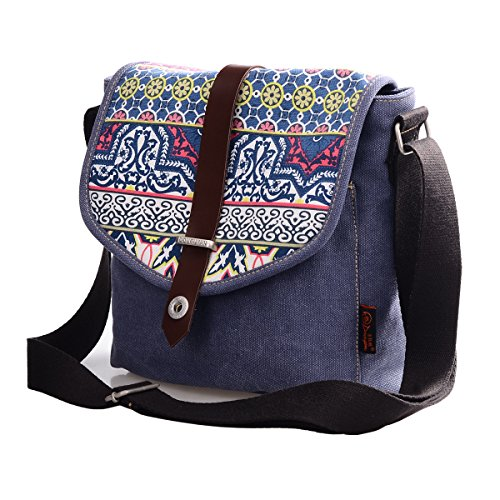 Douguyan Donna Ragazza Borse Retro Messaggero Tela Borsa Cartella Borse a Tracolla Spalla Borsa Messenger Floreale Viaggio Canvas Shopper Shoulder Tote Crossbody Bag E00156 Blu