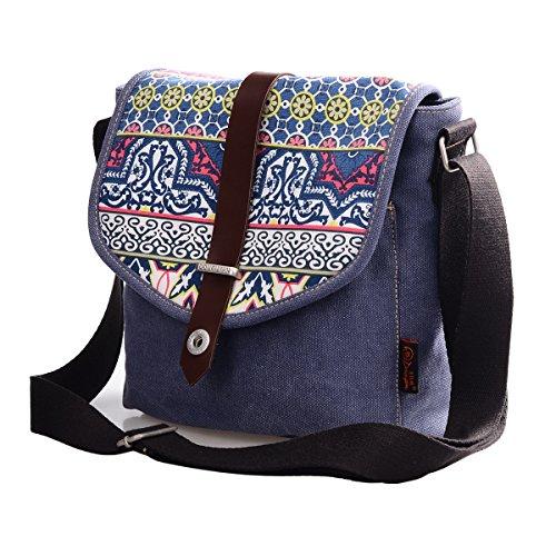 Douguyan Damen mädchen Freizeit Schick Canvas Umhängetasche Schultertasche Shoulderbag Tragetasche klein in 3 Farbe E00156 Blau
