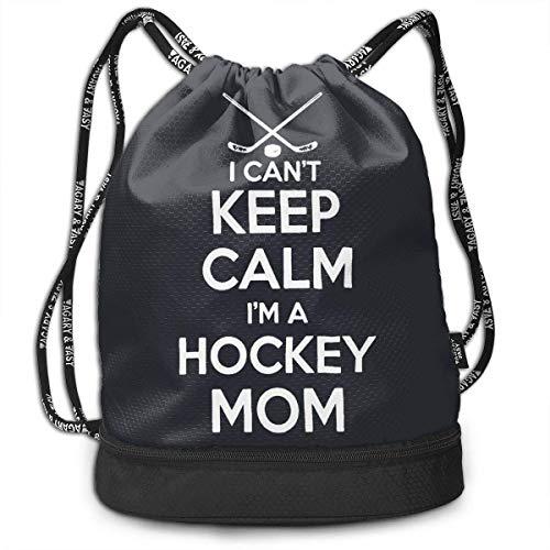 Rucksäcke,Sporttaschen,Turnbeutel,Daypacks, Keep Calm Im A Hockey Mom 3D Drawstring Bag Sport Gym Travel Bundle Backpack Pack Beam Mouth Shoulder Bags