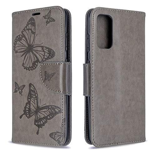 Huldoro -Para la caja de la carpeta de Samsung Galaxy S20, patrón de doble mariposa repujado de cuero de la PU Caso Smartphone con el titular de la tarjeta y cordón for Samsung S20 Manga protectora de