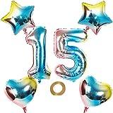 Globos con número 15, número 15, arco iris 15, 15, 80 cm, XL para niñas y niños, hinchables, diseño de corazón