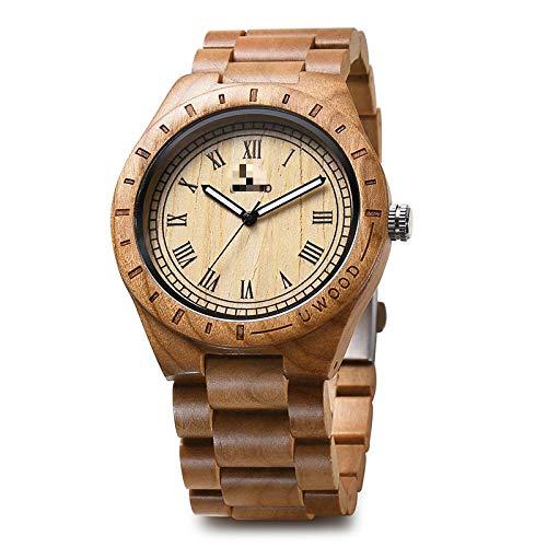 Relojes de Madera Relojes para Hombre Reloj de Pulsera de Madera de bambú para Hombres Reloj de Cuarzo con Correa de Madera para Hombres Regalo Negro