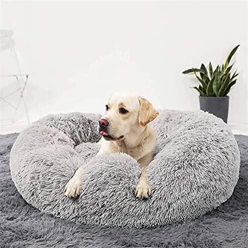 FHKBQ Cama suave y cómoda para perro, cama redonda de felpa, lavable, almohada ortopédica para mascotas para perros medianos, grandes y extrales (color: gris claro, tamaño: 80 cm)