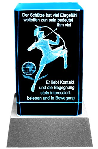Kaltner Präsente Stimmungslicht LED Kerze/Kristall Glasblock / 3D-Laser-Gravur Sternzeichen Schütze