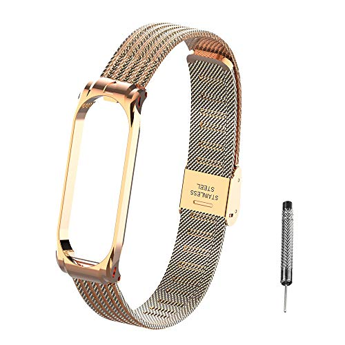 Hangrui for Xiaomi Mi Band 4 Strap Mi band 3 Strap, Metal Wristband Replacement Bracelet Band Wrist Strap Watch Band Adjustable Strap with Adjustment Tool for Mi Band 4/ Mi band 3 (Rose Gold)