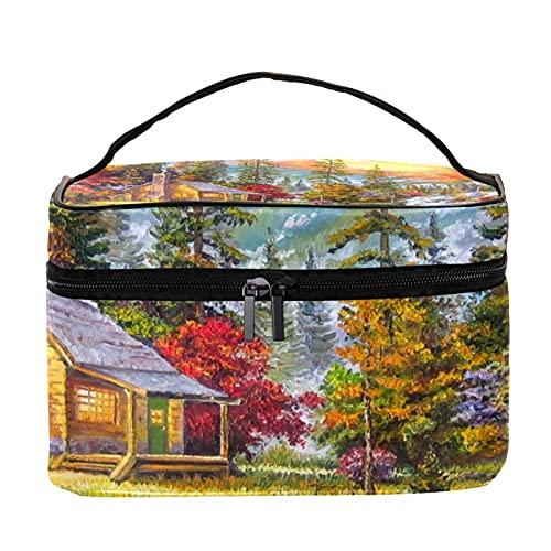 Bolsa de maquillaje grande para pintura al óleo, cabina, tronco y bosque, bolsa de maquillaje, organizador con cremallera, para mujeres y niñas