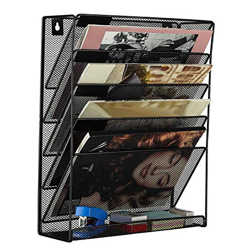 LUNAH Newspaper rack Wall Mounted, Small Metal Magazine Holder for Bathroom, Toilet and More, Practical Storage Solution for Magazines and Newspapers, Black