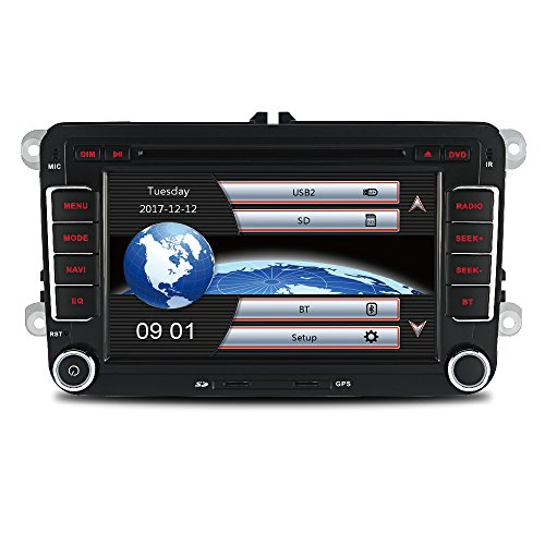 AUMUME 2 Din Autoradio mit Navi für VW Golf Polo Seat, Unterstützt Touch Screen DVD GPS Navigation Radio Bluetooth Park Kamera Lenkrad Bedienung 1080P Video 8GB Kartenmaterial (Black#2)
