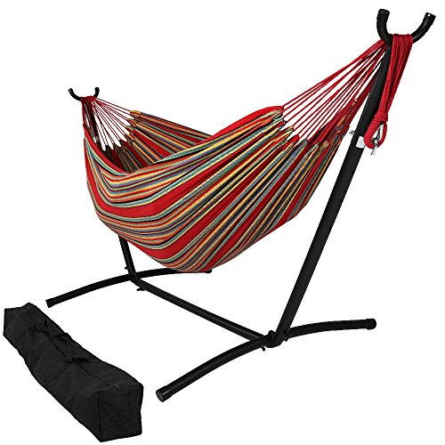 Sunnydaze Double Brazilian Hammock with Stand & Carrying Case - Large Two Person Hammock with Brazilian Stand - 400 Pound Capacity - Sunset