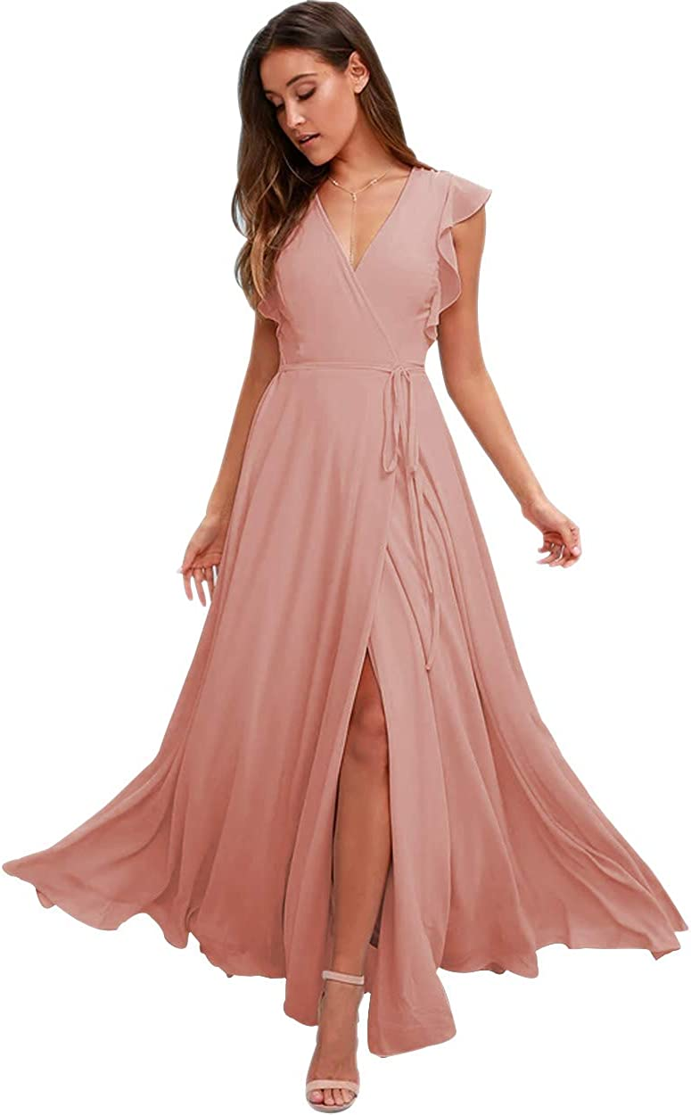 Stylefun V-Neck Bridesmaid Dresses with Sleeves Long Simple A-line Formal Dresses for Women 2021 BD006