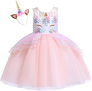 Girls Unicorn Dress up Fancy Costume for Pageant Party