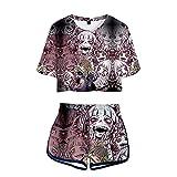 YZJYB My Hero Academia Anime Conjuntos Deportivos 3D Impresión Himiko Toga T-Shirt Pantalones Cortos Set Mujeres Camiseta Y Pantalones Cortos Verano 2 Piezas Set,Multi Colored,M