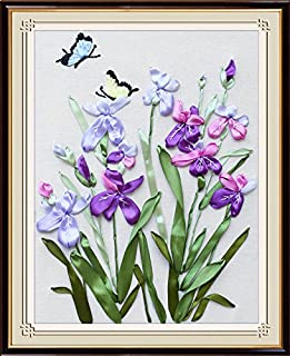 Ribbon embroidery Kit,Fanryn 3D Silk ribbon embroidery Butterfly Flowers pattern design Cross Stitch Kit Embroidery for beginner DIY Handwork Home Decoration Wall Decor 45x35cm (No frame)
