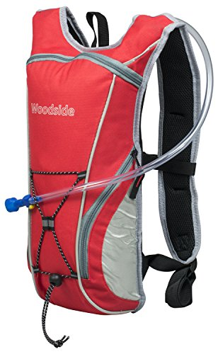 Woodside 2 Litre Hydration Pack Water Rucksack/Backpack/Cycling Bladder Bag Red