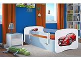 Kocot Kids Kinderbett Jugendbett 70x140 80x160 80x180 Blau mit Rausfallschutz Matratze Schublade und Lattenrost Kinderbetten für Junge - Sportwagen 160 cm