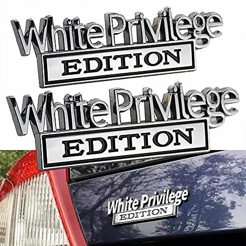 White Privilege Edition Emblem [5pcs] - Badgeslide The Original White Privilege Edition Emblem Fender Badge Car Decal Sticker Chrome Black (5pcs (save 25 USD), silver)
