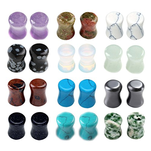PiercingJ 12 Paare 6-16MM Steine Plugs Plug Set Tunnel Set Sattel Double Flared Expander Ohrstecker Ohrpiercing