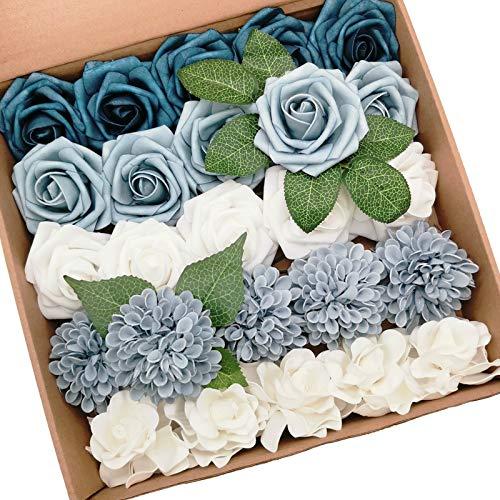 Mefier Combo de flores artificiales delicadas y elegantes flores mezcladas de color azul polvoriento con tallo para bricolaje, ramos de boda, centros de mesa, baby shower, fiesta, decoración del hogar