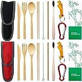 Ruiyoupin - Juego de 2 cubiertos de bambú, funda funcional reutilizable, cuchillo de bambú, tenedor y palillos