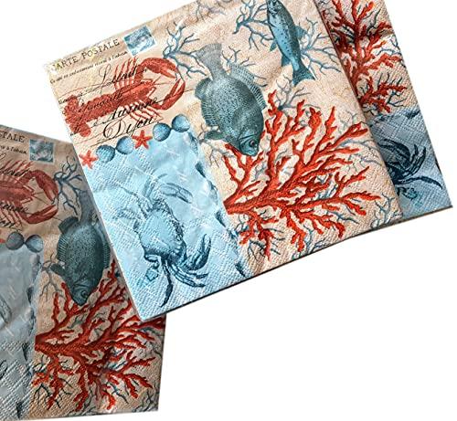 40-ct Coral Beach Napkins Fall Napkins Decorative Paper Napkins Decoupage Paper...