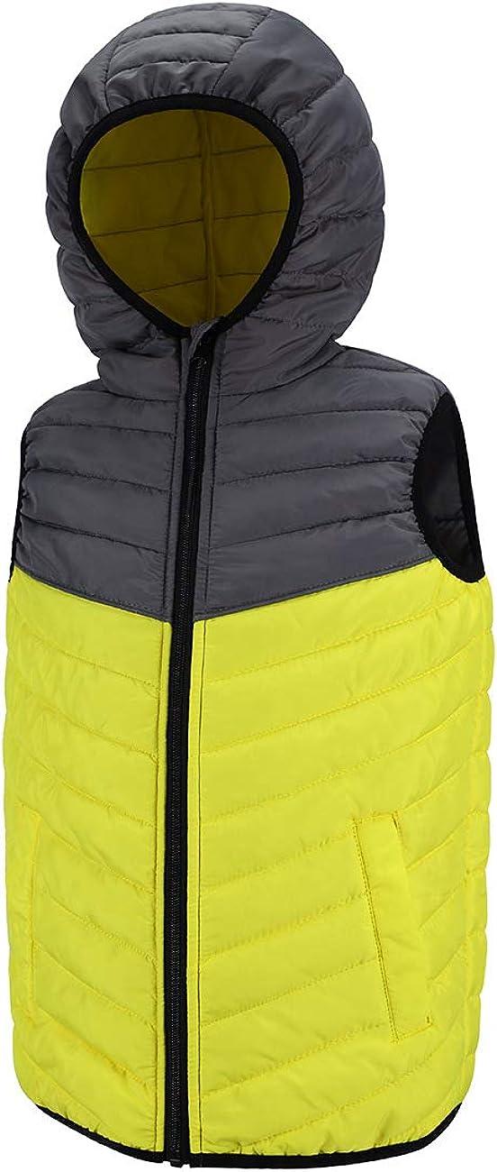 DISHANG Kids Puffer Vest Hooded Quilted Outwear Sleeveless Jacket Lined Zipper Waistcoat