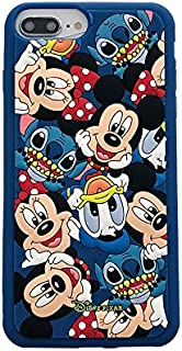Soft Silicone Mickey Minnie Mouse Donald Daisy Duck Stitch Case for iPhone 7Plus 8Plus 7+ 8+ Blue Disney Cartoon Toy Story Cute Chic Lovely Cool Girls Women Teens Kids Boys Son