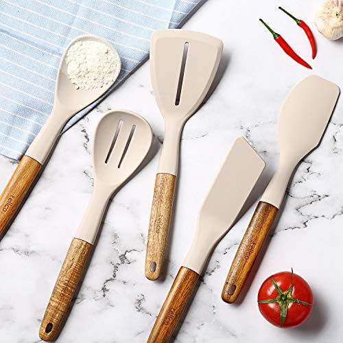 Tellco Silicone Cooking Utensils Set 12 inch, Acacia Wood Handles, for Nonstick Cookware