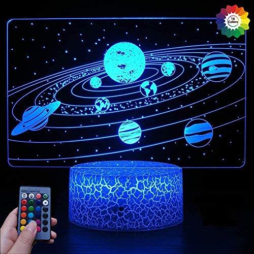 Luz Noche Galaxia Solar 3D Control Remoto con alimentación USB Decoración Mesa Escritorio Lámpara 3D 7/16 Luces Que cambian Color Lámpara Mesa LED Navidad Hogar AmorCumpleañosNiños Decoración pa