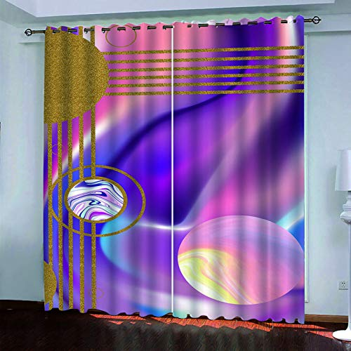 YUNSW Fashionable Geometric Oil Painting Curtains, Blackout And Soundproof Curtains For Living Room, Bedroom, Kitchen, Two-Piece Perforated Curtains
