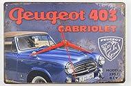 Metall-Uhr im angesagten Shabby Vintage Stil Die Uhr baut auf einem nostalgischen Blechschild auf. Daher wurde auf ein Zifferblatt verzichtet, damit der Charme des Blechschildes erhalten bleibt. Beschriftung: Peugeot 403 Cabriolet Maße: Höhe ca. 20 c...