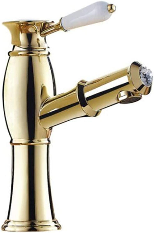 Faucet Waste Mono Spoutgold Pulling Faucet Copper Hot and Cold Retractable Basin Faucet Washbasin Washbasin Washable Faucet