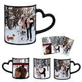 Personalized Coffee Cups, personalized mug that Can Be Customized for 3 Photos Special Coffee Cups with Heat Color-changing Heart-shaped Handles Mother's Day Birthday Gift